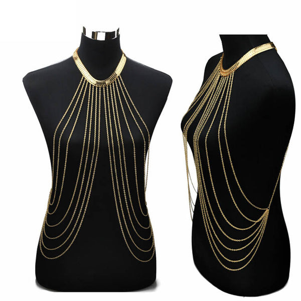 Gold Body Chain Necklace - Shevoila Jewelry & Clothing