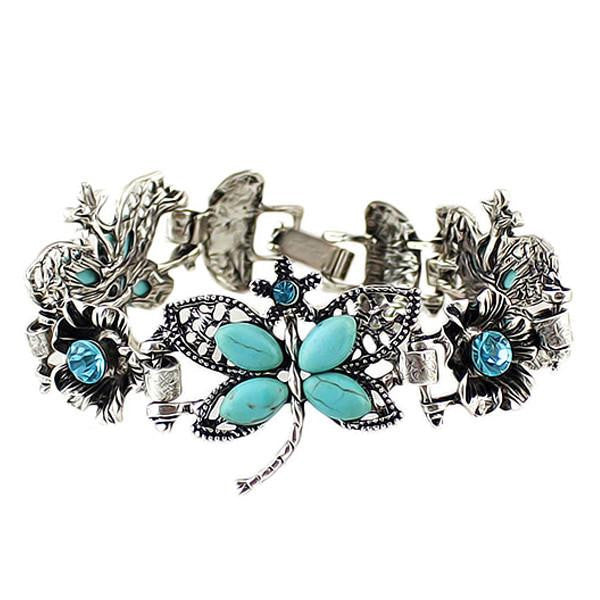 Silver & Turquoise Butterfly Bracelet - Shevoila Jewelry & Clothing - 1