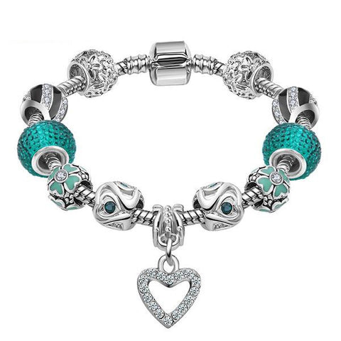Silver & Turquoise Heart Bracelet - Shevoila Jewelry & Clothing - 1
