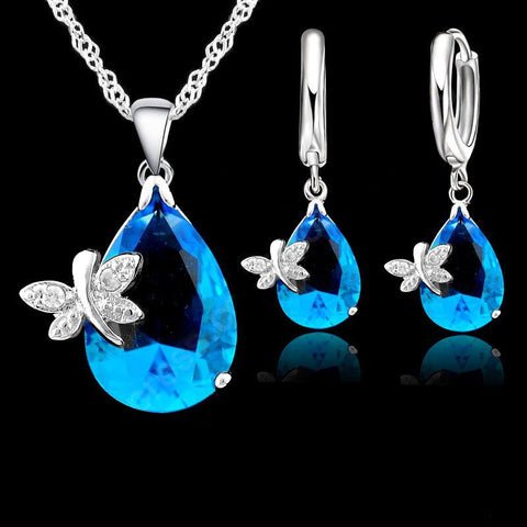 Silver Sapphire Dragonfly Jewelry Set - Shevoila Jewelry & Clothing