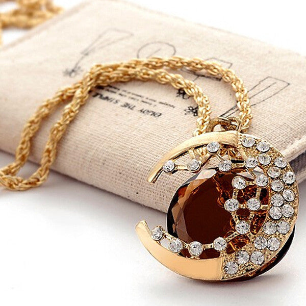 Crystal Moon Necklace - Shevoila Jewelry & Clothing - 1