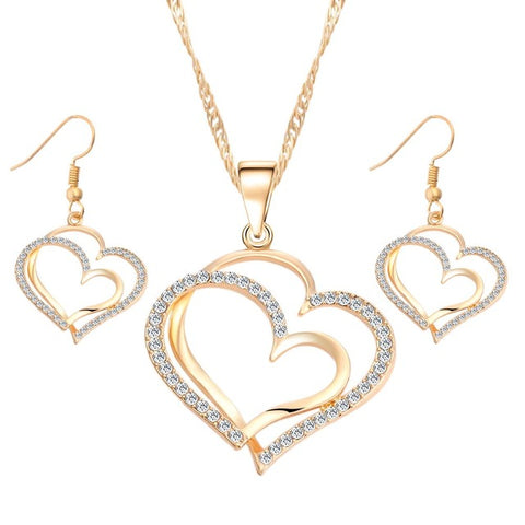 Heart Pattern Crystal Jewelry Set
