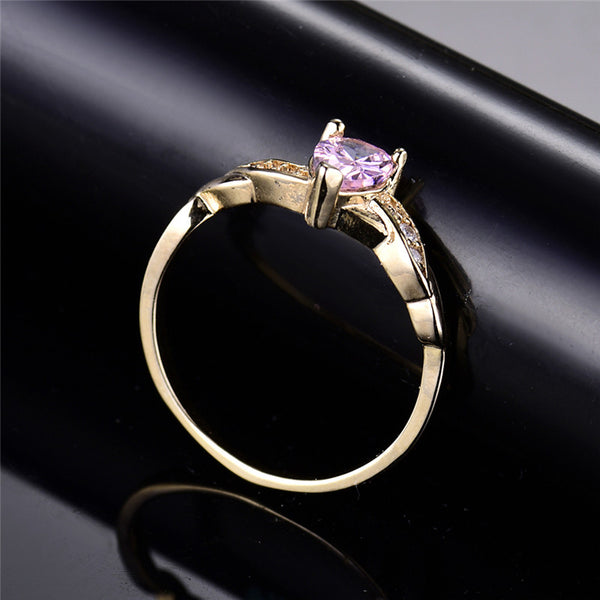 Pink Crystal Tear Drop Ring