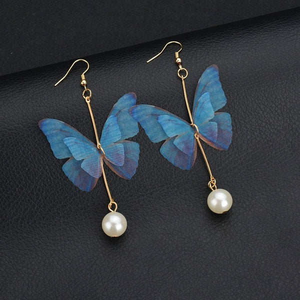 Vintage Pearl Drop Butterfly Earrings