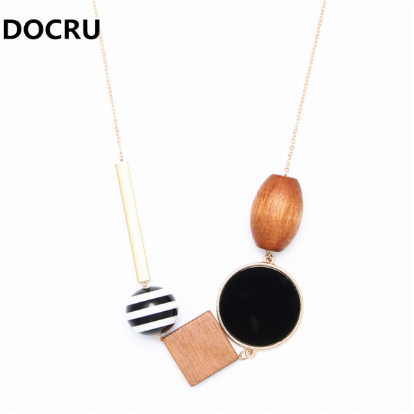 Geometric Wood Combination Pendant
