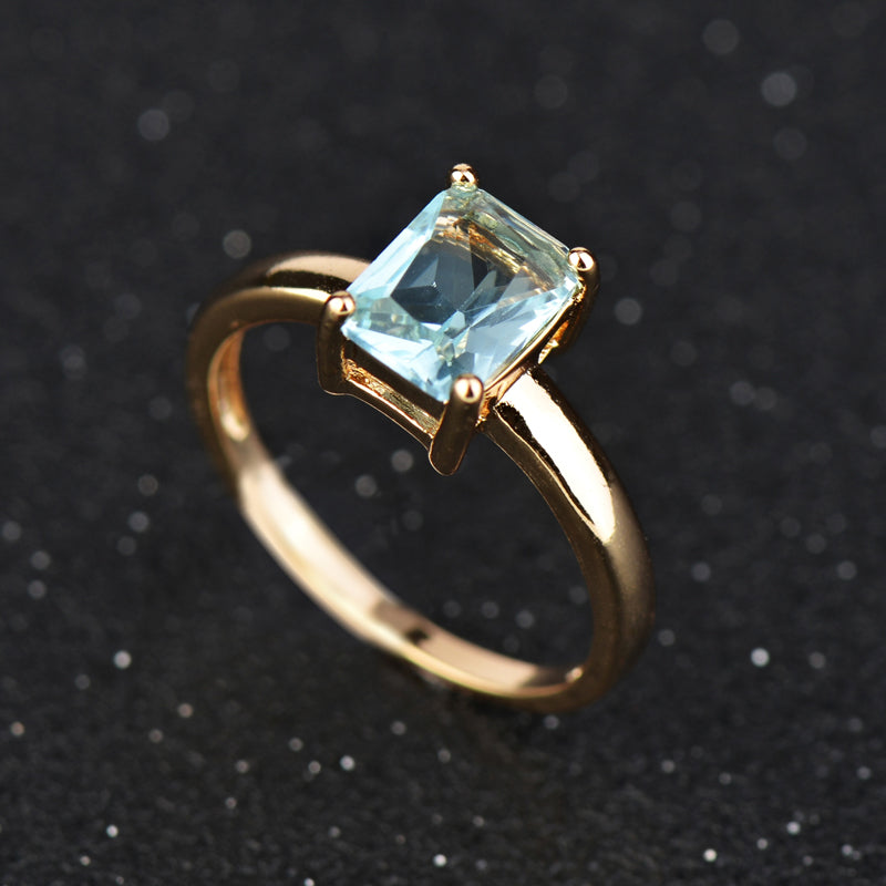 Gold Color Blue Crystal Ring