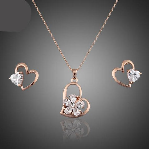 Rose Gold Austrian Crystal Heart Jewelry Set