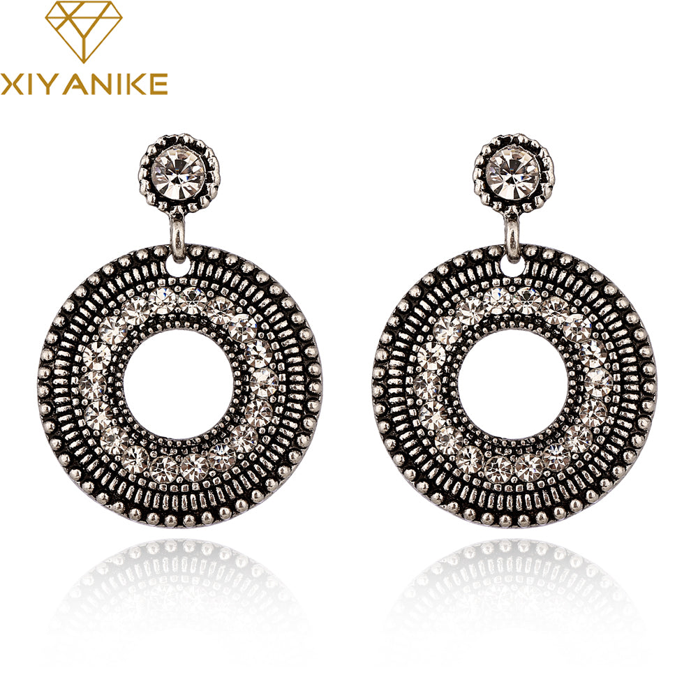 XIYANIKE 2017 New Arrival Fashion Punk Exaggerated Vintage Rhinestone Round Big Drop Earrings For Women Accessories E985