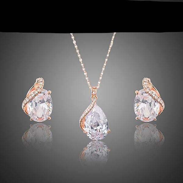 Rose Gold Water Drop Jewelry Set