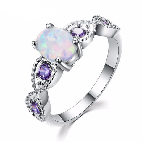 OCTOBER BIRTHSTONE RING! White Fire Opal Ring