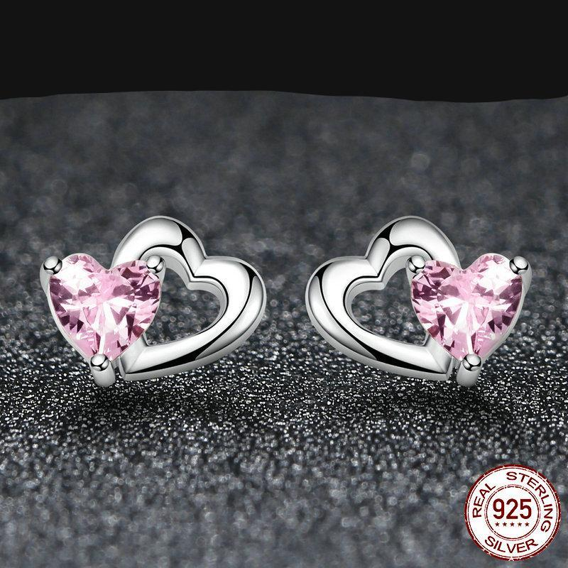 Double Heart Shaped Pink Earrings