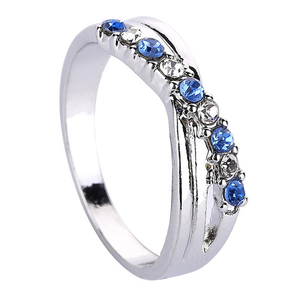 Blue And White Cross Ring