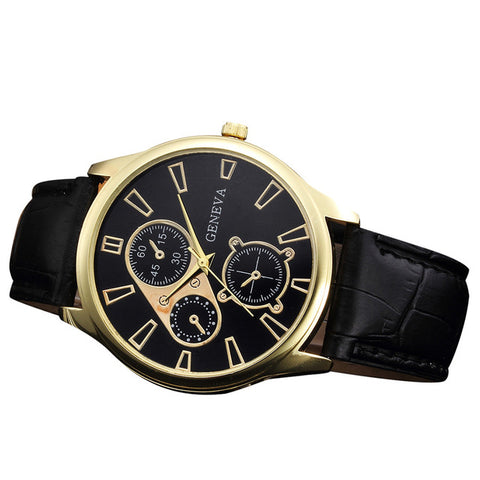 Geneva Leather Band Analog Quartz Watch