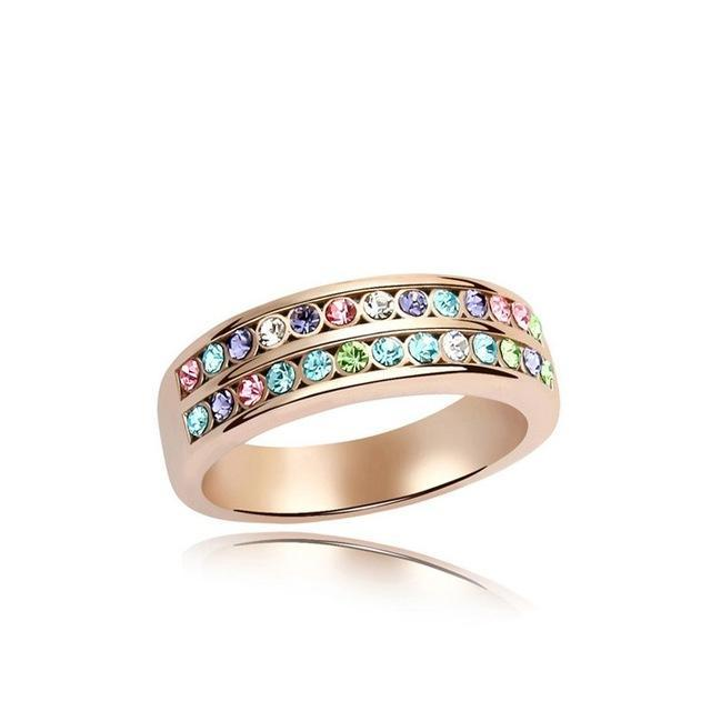 Multi-Colored Crystal Ring