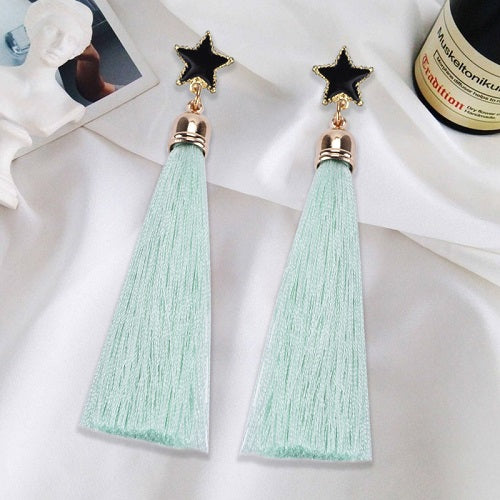 Long Tassel Silk Earrings
