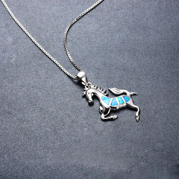 OVERSTOCK FALL SALE! OCTOBER BIRTHSTONE ITEM! Opal Horse Pendant