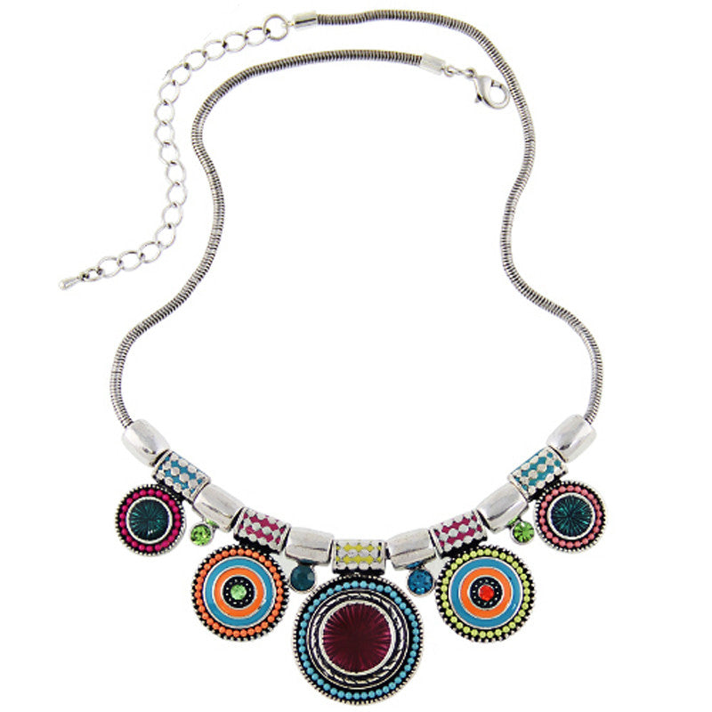 Vintage Silver Plated Colorful Bead Necklace - Shevoila Jewelry & Clothing - 1