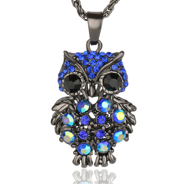 Crystal Gem Owl Necklace - Shevoila Jewelry & Clothing - 1