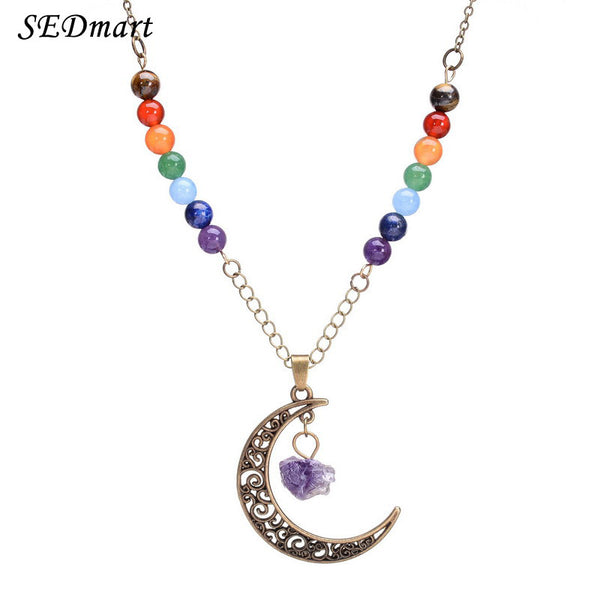 Crescent Moon Shape Chakra Bead Necklace - Shevoila Jewelry & Clothing