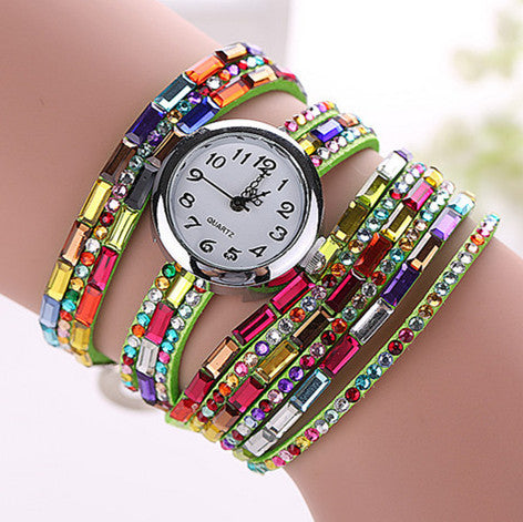 Gemstone Leather Wristwatch - Shevoila Jewelry & Clothing - 1