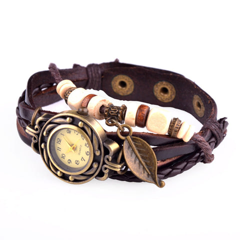 Leaf Charm Leather Watch - Shevoila Jewelry & Clothing - 1