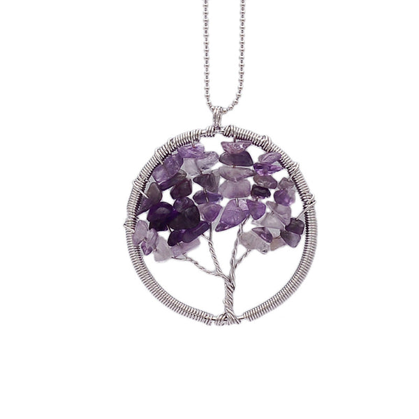 Wisdom Tree of Life - 7 Chakra Natural Stone Pendant Necklace - Shevoila Jewelry & Clothing - 4