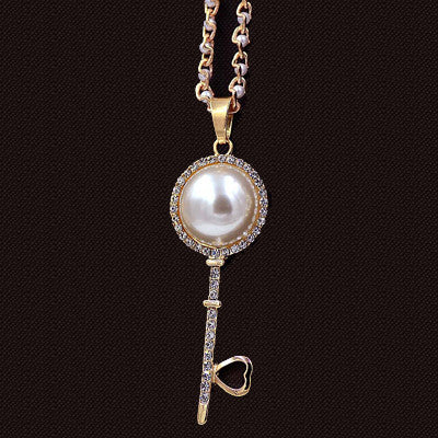 Pearl Key Pendant Necklace - Shevoila Jewelry & Clothing - 8