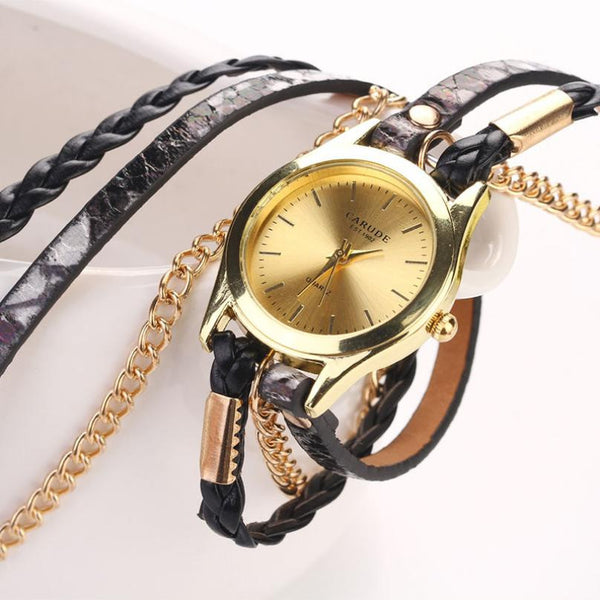 Gold & Leather Braided Watch - Shevoila Jewelry & Clothing - 4