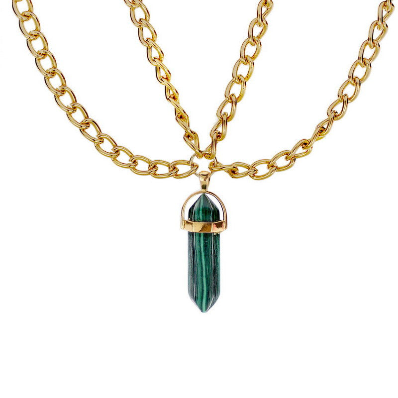 Natural Gemstone Double Chain Necklace - Shevoila Jewelry & Clothing - 3
