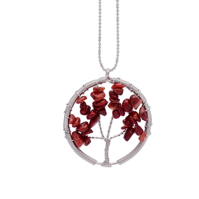 Wisdom Tree of Life - 7 Chakra Natural Stone Pendant Necklace - Shevoila Jewelry & Clothing - 3