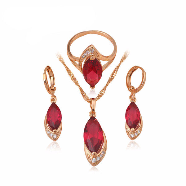 Ruby & Gold Jewelry Set - Shevoila Jewelry & Clothing