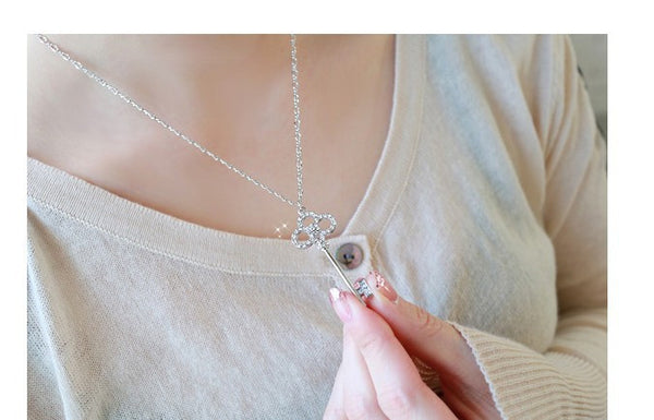 Long Key Crystal Necklace - Shevoila Jewelry & Clothing - 3