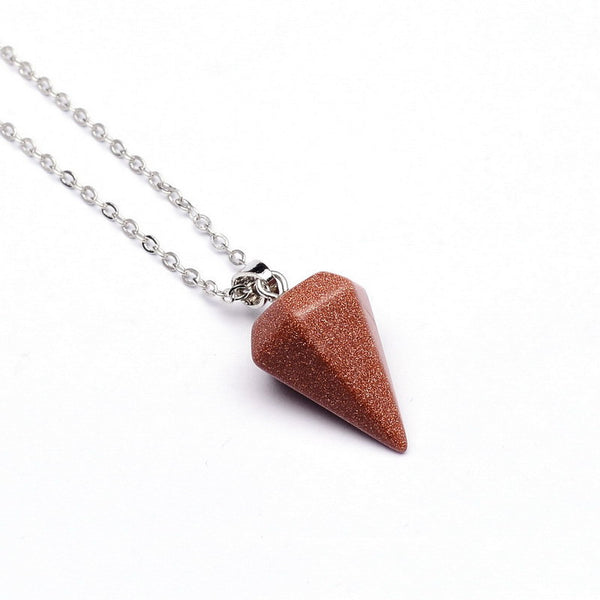 Gemstone Pendulum Necklace - Shevoila Jewelry & Clothing - 9
