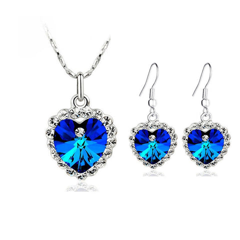 Sapphire Heart Jewelry Set - Shevoila Jewelry & Clothing - 1
