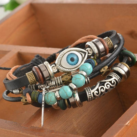 Leather & Turquoise Charm Bracelet - Shevoila Jewelry & Clothing