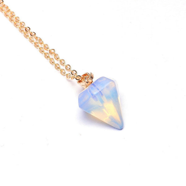 Gemstone Pendulum Necklace - Shevoila Jewelry & Clothing - 4
