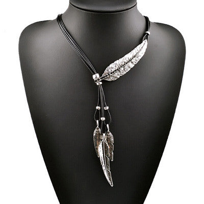 Black Rope Chain Feather Necklace - Shevoila Jewelry & Clothing - 2