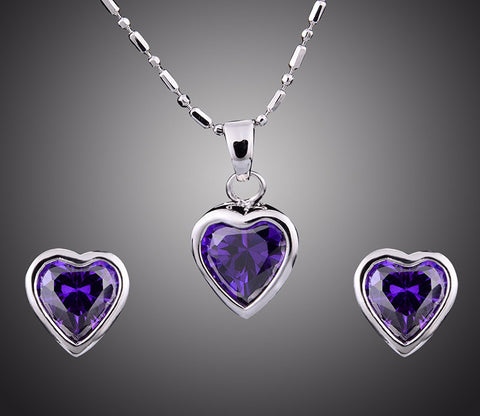 Silver & Gemstone Heart Jewelry Set - Shevoila Jewelry & Clothing - 1