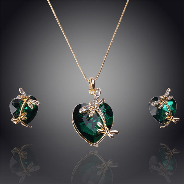 Gemstone Dragonfly Heart Jewelry Set - Shevoila Jewelry & Clothing - 3