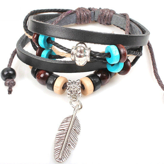 Leather Wrap Bracelet - Multi-Style - Shevoila Jewelry & Clothing - 18