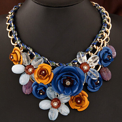 Colorful Floral Necklace - Shevoila Jewelry & Clothing - 1