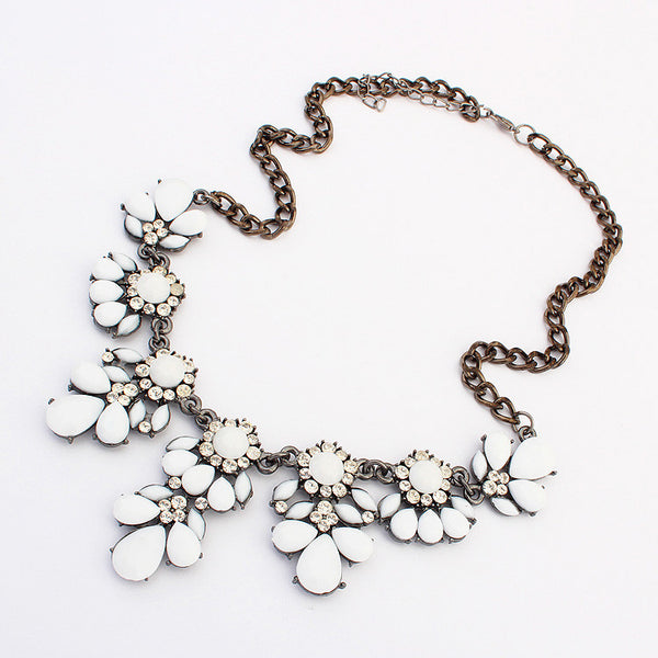Austrian Crystals Flower Necklace - Shevoila Jewelry & Clothing - 3