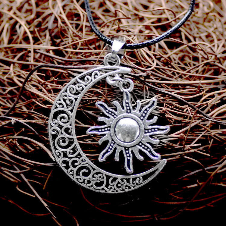 Crescent Moon And Sun Necklace - Shevoila Jewelry & Clothing - 5