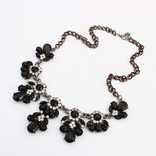 Austrian Crystals Flower Necklace - Shevoila Jewelry & Clothing - 1