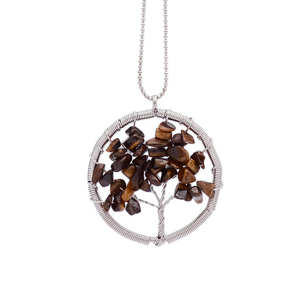 Wisdom Tree of Life - 7 Chakra Natural Stone Pendant Necklace - Shevoila Jewelry & Clothing - 7