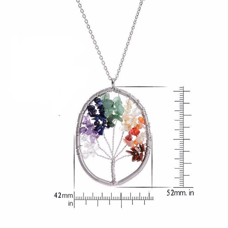 Heart Tree of Life - 7 Chakra Natural Stone Pendant Necklace - Shevoila Jewelry & Clothing - 2
