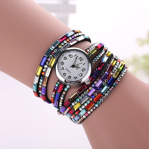 Gemstone Leather Wristwatch - Shevoila Jewelry & Clothing - 3