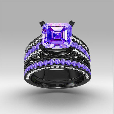 Amethyst And Sapphire Black Gold Ring - Shevoila Jewelry & Clothing - 1