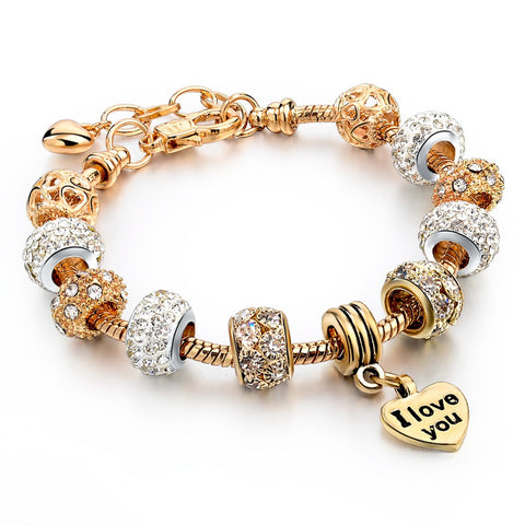 "Gold ""I Love You"" Charm Bracelet - Shevoila Jewelry & Clothing - 1"