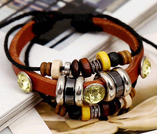 Leather Wrap Bracelet - Multi-Style - Shevoila Jewelry & Clothing - 2